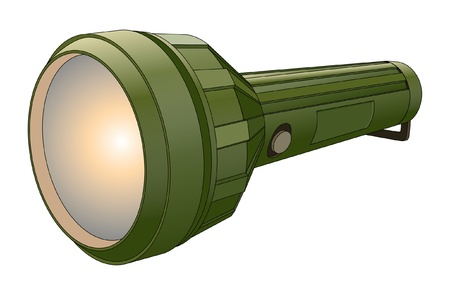 Flashlight II is an illustration of a green flashlight with glowing light.