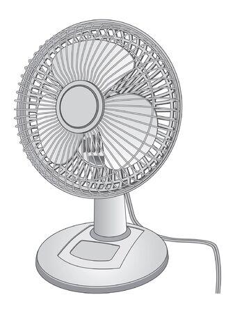 Desk fan is an illustration of a white desk fan. Çizim
