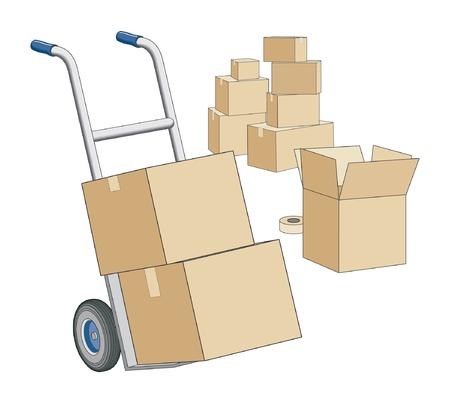 Moving Dolly en dozen is een illustratie van een dolly en dozen klaar voor het verplaatsen van. Stock Illustratie