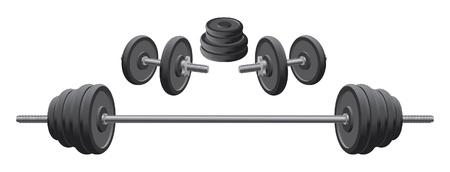 gusseisen: Gewichte ist eine Darstellung Gewichte einschlie�lich zwei Kurzhanteln und einer Langhantel im Gewichtheben und Fitness-Programme verwendet.