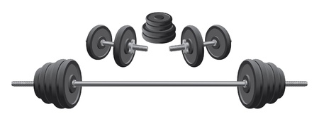 cast iron: Weights is an illustration of weights including two dumbbells and one barbell used in weight lifting and fitness programs.