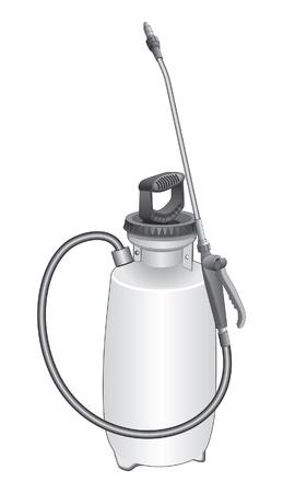 庭の噴霧器は、芝生および庭のスプレーヤー農薬や除草剤を調剤のイラストです。