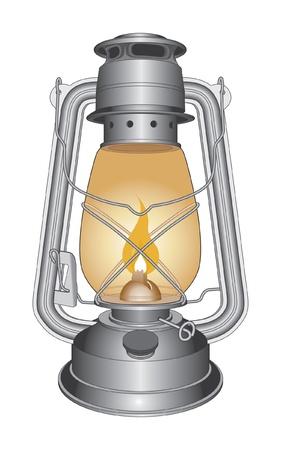 lampa naftowa: Vintage lampy olejowe lub Lantern jest ilustracja starej lampy naftowej.