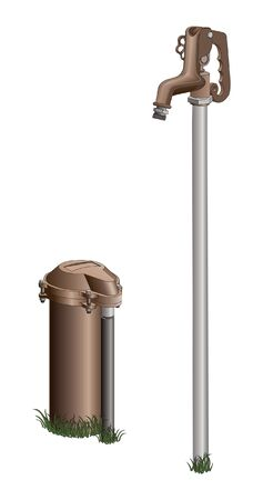 Well Head and Outdoor Faucet is an illustration of a the head of a well and an outdoor faucet.