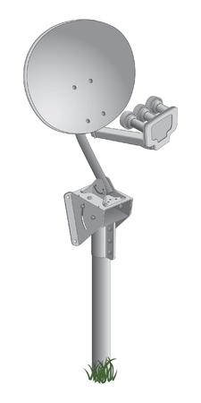 衛星放送受信アンテナは衛星放送受信アンテナ衛星テレビ信号を受信するために使用のイラストです。