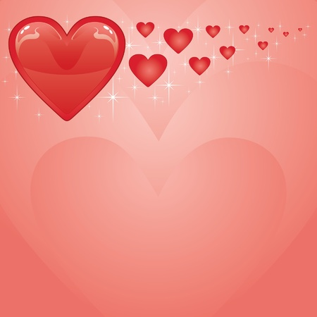 Valentines Card is an illustration of a Valentines Day Card with red Valentine hearts Stock Vector - 13607906