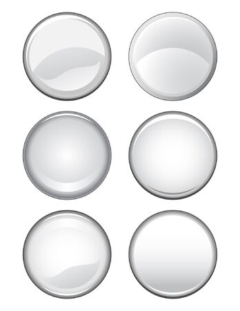illustration of six blank button designs on a white background. Stock Vector - 13704207