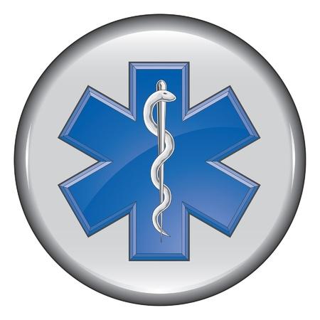 estrella de la vida: Rescate Médico Paramédico Botón Vectores