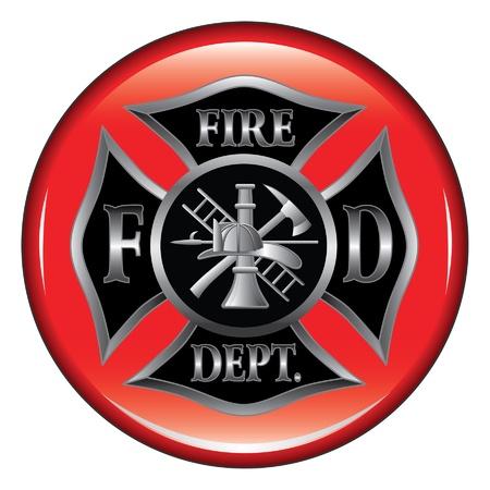 Fire Department of Brandweerlieden Maltezer kruis symbool op een knop illustratie. Stock Illustratie