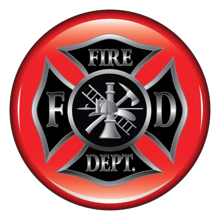fire helmet: Fire Department or Firefighter's  Maltese Cross Symbol on a button illustration.