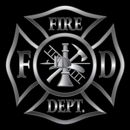 an axe: Fire Department or Firefighter's  Maltese Cross Symbol in silver on black background