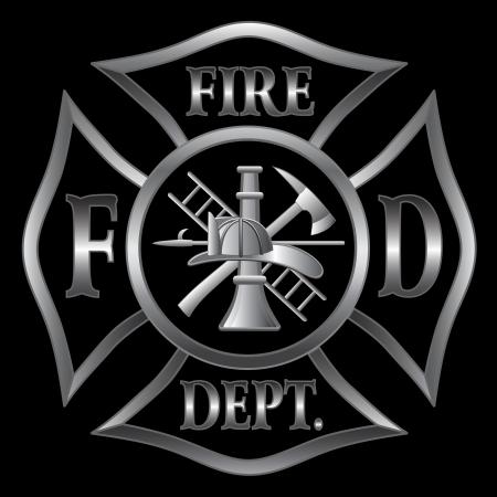 Service des incendies ou des pompiers croix de Malte Symbole en argent sur fond noir