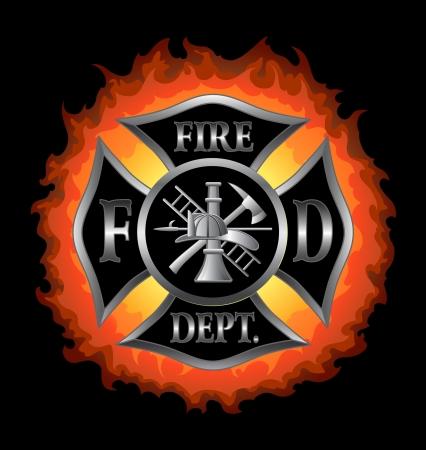 lángok: Tűzoltóság vagy Tűzoltók máltai kereszt szimbólum ezüst lángoló háttér illusztráció.