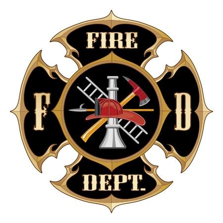 Brandweer Maltezer Kruis Vintage is een illustratie van een vintage brandweer Maltees kruis met full colour logo brandweerman binnen.
