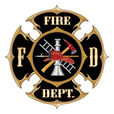 Fire Department Maltese Cross Vintage is an illustration of a vintage fire department maltese cross with full color firefighter logo inside.