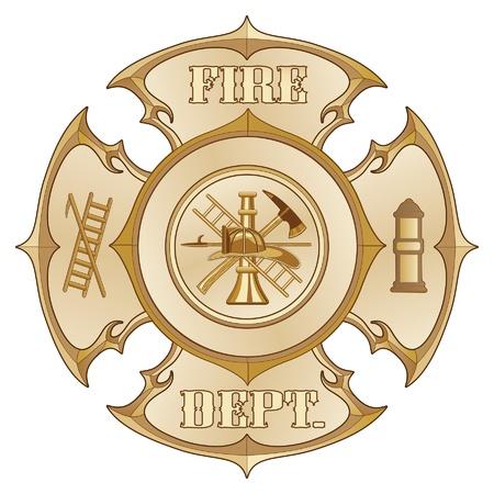 소방서 크로스 포도 수확 금은 내부 소방관 로고와 함께 골드 컬러의 빈티지 소방 몰타 크로스의 그림입니다.