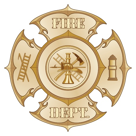 Fire Department Cross Vintage Gold is an illustration of a vintage fire department maltese cross in a gold color with firefighter logo inside. Vector