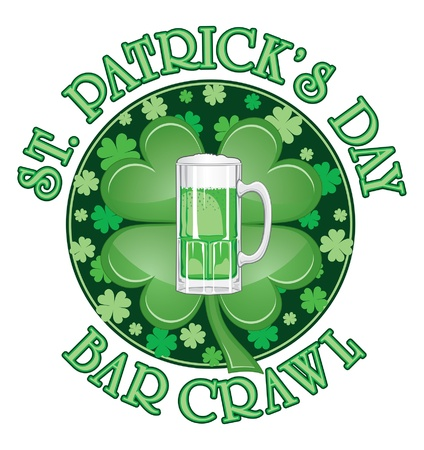 St. Patrick Day Bar Crawl Design is an illustration of a design for St. Patrick Day. Includes a green beer and four leaf clovers or shamrocks. Stock Vector - 14299096