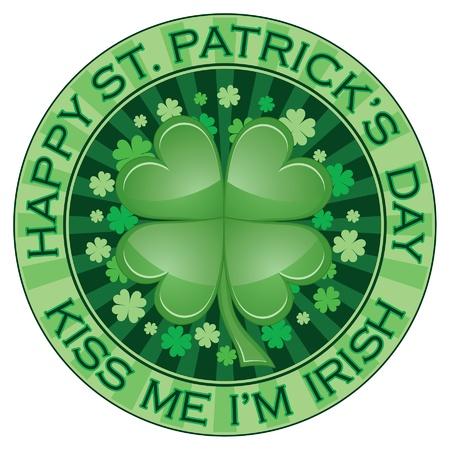 聖 Patrick 日パーティー デザインは聖 Patrick 日デザインのイラストです。緑の四葉のクローバーや shamrocks が含まれています。  イラスト・ベクター素材