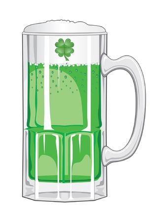 foaming: Green Beer is an illustration of a glass mug of green beer foaming and sparkling for St. Patricks Day.