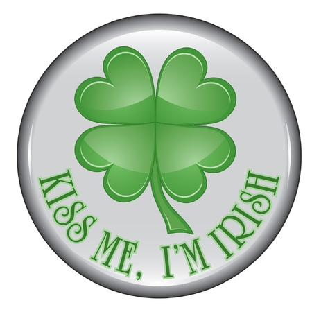St. Patrick's Day Button is an illustration of a St. Patrick's Day button containing a four leaf clover or shamrock. Stock Vector - 14388073
