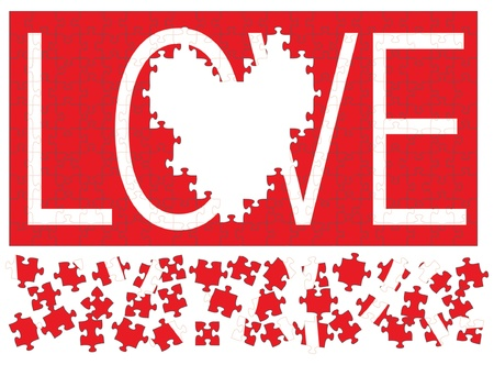 Love Puzzle II is an illustration of a red jigsaw puzzle with the word love in white missing a heart shaped section.