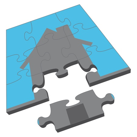 missing puzzle piece: House Puzzle is an illustration of a jigsaw puzzle with the an image of a house. Portrays concept of owning a home or completing a home purchase or sale.