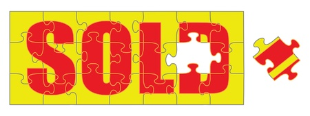 Sold Puzzle is an illustration of a jigsaw puzzle with the word sold. Portrays concept of completing a sale. Ilustração