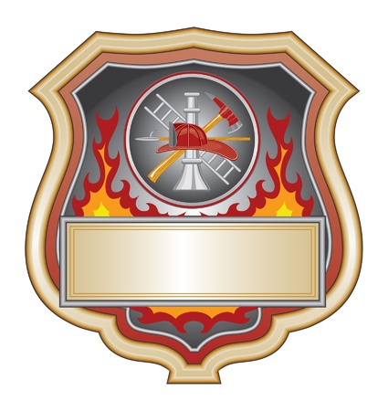 department: Firefighter Shield is an illustration of a firefighter or fire department shield with firefighter tools logo.