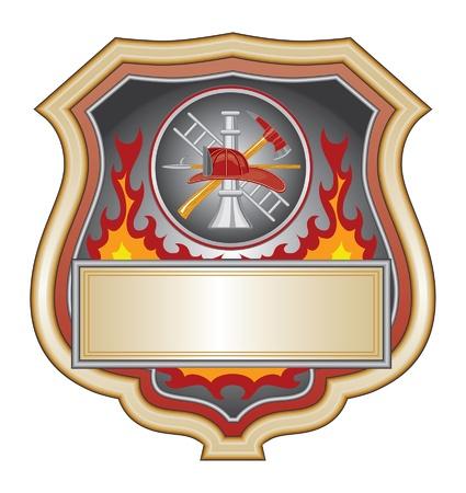 Firefighter Shield is een illustratie van een brandweerman of de brandweer schild met brandweerman gereedschap logo.