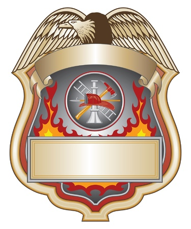 flame: Firefighter Shield II is an illustration of a firefighter or fire department shield with firefighter tools logo.