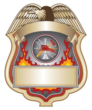 Firefighter Shield II is een illustratie van een brandweerman of de brandweer schild met brandweerman gereedschap logo. Stock Illustratie