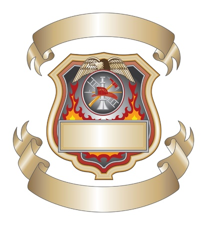 department: Firefighter Shield III is an illustration of a firefighter or fire department shield with firefighter tools logo.