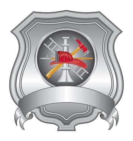 소방관 쉴드 IIII는 소방관의 도구 로고와 함께 소방 관 또는 소방 방패의 그림입니다.