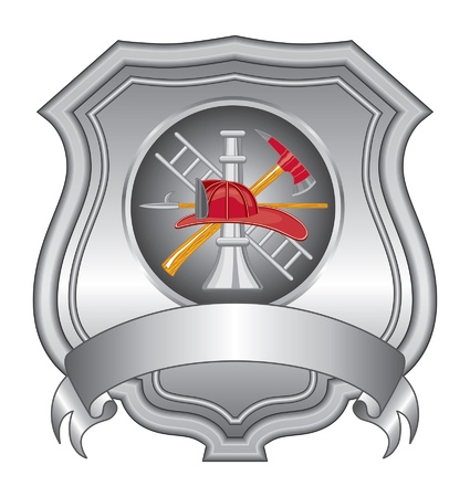 Firefighter Shield IIII is een illustratie van een brandweerman of de brandweer schild met brandweerman gereedschap logo.