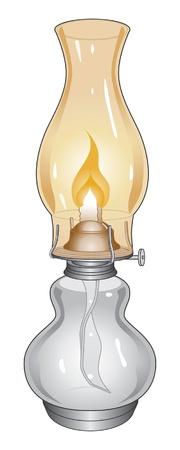 an oil lamp: Lámpara de aceite es una ilustración de una lámpara de aceite quemado o linterna.