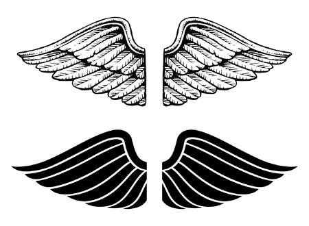 alas de angel: Estilo Vintage Wings and Graphic es una ilustración de las alas en dos tipos. Se trata de un estilo vintage y el otro es un estilo gráfico. Vectores