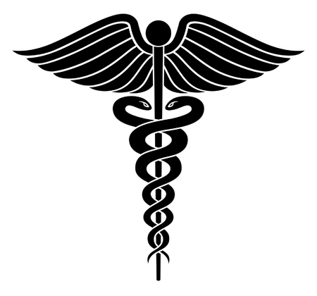 medical symbol: Caduceo m�dico del s�mbolo II es una ilustraci�n de un s�mbolo m�dico del caduceo en el vector blanco y negro.