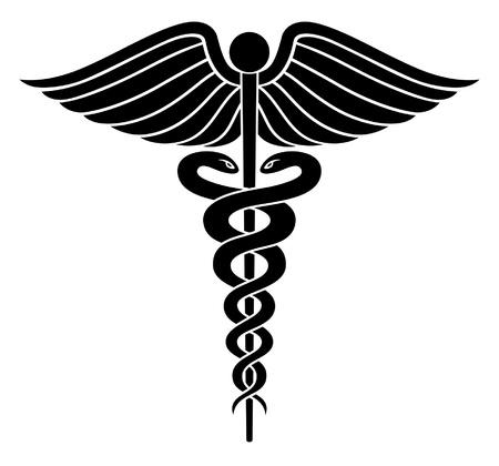 Caduceus Medisch Symbool II is een illustratie van een Caduceus medisch symbool in zwart-wit vector. Stock Illustratie