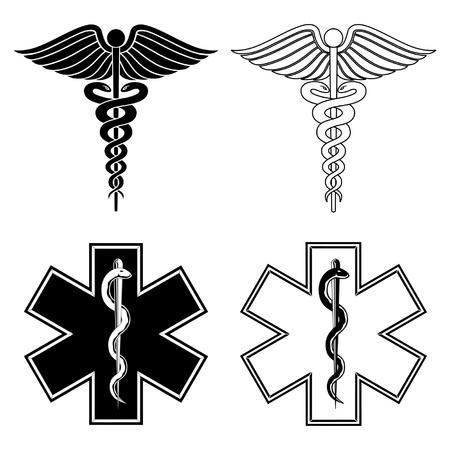 paramedic: Caduceo y Estrella de la Vida es una ilustración de un caduceo y la estrella de los símbolos de la vida médica en el vector blanco y negro.