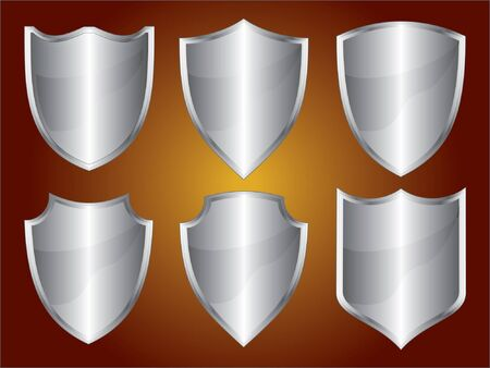 Shields is an illustration of six different shield or crest shapes in silver.
