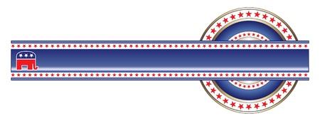 republican: Banner Label pol�tica republicana es una ilustraci�n de la etiqueta con el tema pol�tico de los republicanos que se puede utilizar con su propio texto y colores.