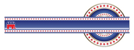 Politieke Label Republikeinse Banner is een illustratie van het etiket met politieke thema van de Republikeinse die gebruikt kunnen worden met uw eigen aangepaste tekst en kleuren.