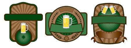 Beer Label Emblem Set is an illustration of a set of three beer label or emblem designs