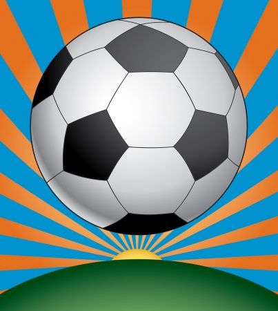 Soccer Season is an illustration of a soccer ball in black and white above a green field with a sunburst background. Stock Vector - 15245187