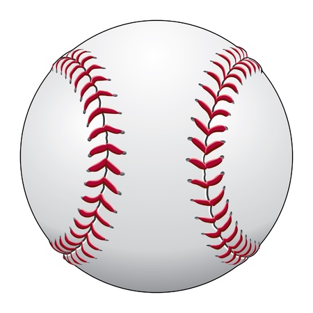 baseball ball: Baseball is an illustration of a baseball in white leather with red stitches.