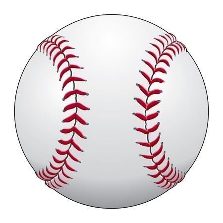 Baseball is een illustratie van een honkbal in wit leer met rode stiksels.