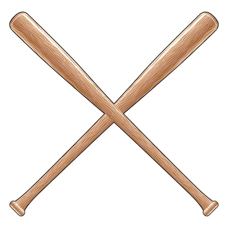 Baseball Bats is an illustration of two crossed wooden baseball or softball bats. Great for t-shirt designs. Vettoriali