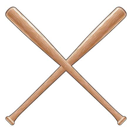 softbol: Baseball Bats es una ilustración de dos palos cruzados de madera de béisbol o softbol. Ideal para diseños de camiseta.