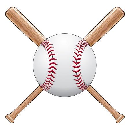 softbol: Béisbol Con Murciélagos es una ilustración de una pelota de béisbol o softbol con dos palos de madera cruzados. Ideal para diseños de camiseta.
